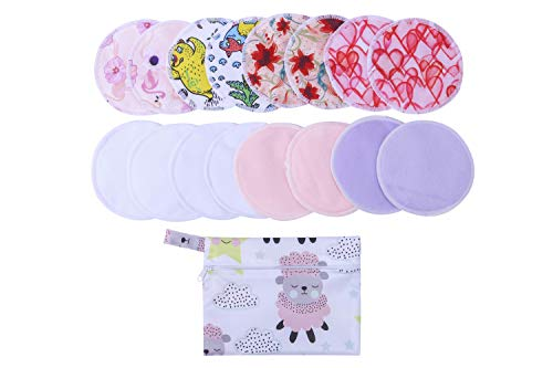 - 16(Pack) Reusable Bamboo Breast Pad Nursing Pads for Mum Washable Waterproof Pregnant 4.7 inch,Bamboo Fabric Material Inner/Reusable Nursing Pads