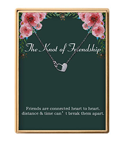925 Sterling Silver Dainty Knot of Friendship Double Heart Necklace Gift for Friends