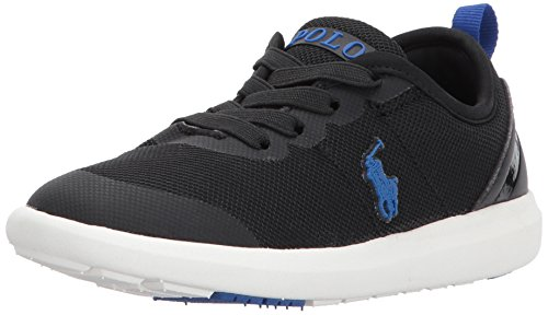 Polo Ralph Lauren Kids Boys' Kasey Gore II Sneaker, Black Mesh Royal Pop, 7 Medium US Toddler