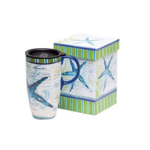 Blue Starfish Ceramic Travel Coffee Mug In Matching Gift Box