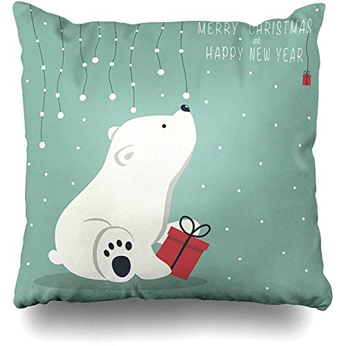 (The Cover Depicts A Seated Little Polar Bear with Gift Box Square Decorative Throw Pillowcase Two Sides Printed, Fashion Style Zippered Cushion Pillow Cover 18 x 18 inch)