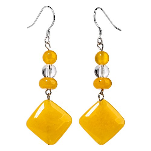 Mom Yellow Earrings (YACQ Sterling Silver Natural Gemstone Dangle Earrings Handcrafted Jewelry for Women (yellow jade,clear quartz))