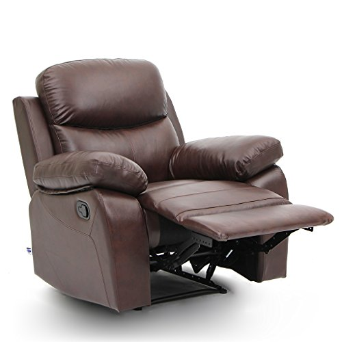 Style Adirondack Footrest (VH HOME Top Grain Leather Recliner Chair 1 Seat Classical Style In Brown)