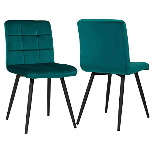 Set of 2 Green Dining Chairs for Living Room Kitchen, Modern Velvet Leisure Upholstered Chairs Mid Century Metal Legs, Mid-Back Support Chairs