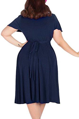 V marino azul de neckline tamaño elástico nemidor dama Plus Midi Mujer Casual vestido HqxA57F