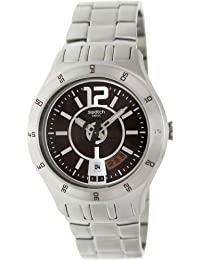 Swatch In A Brown Mode YTS406G 43 Silver Steel Bracelet & Case Men's Quartz Watch