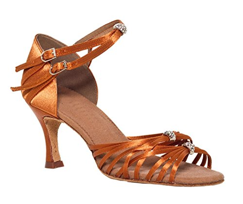 Satin Bronze Chaussures de Minitoo femme Effet Tango latine Charater danse 1wE6qR