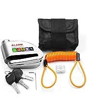 Kit Trava de Disco Cromada c/Alarme Anti Furto Segurança Proteção Moto Bike com Bolsa e Cabo Lembrete