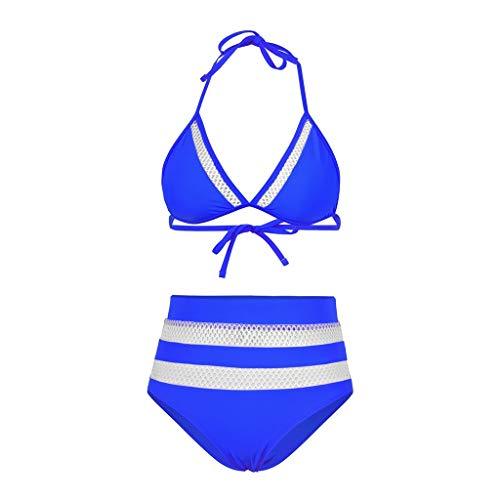Womens High Waist Two Pieces Swimwear TANGSen Summer Bikini Set Padded Solid Patchwork Casual Mesh Swimsuit Beachwear Blue