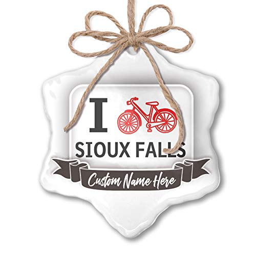 NEONBLOND Create Your Ornament I Love Cycling City Sioux Falls Personalized ()