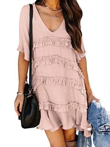 MYMORE Summer V Neck Flutter Short Sleeve Ruffle Dresses for Women Pink