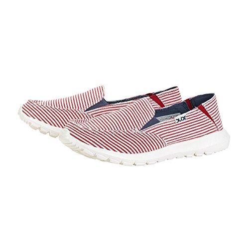 Dude Mule Ava Stripes On Shoes Slip Red Women's wOaBwZ