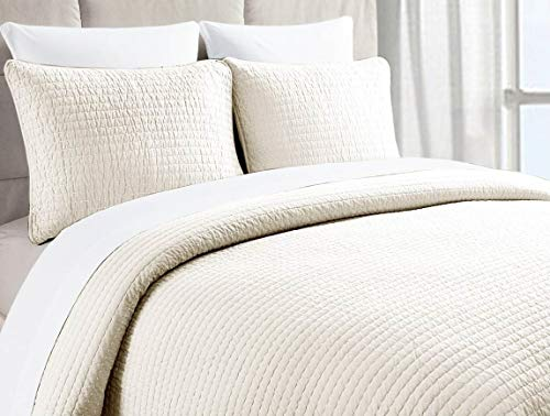 Stitch Channel Quilt - Copper Loom Beatrice Pick Stitch Quilt (Ivory, King)