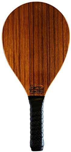 (Frescobol Paddle, American Walnut Wood beach paddle ball racket, black padded grip)