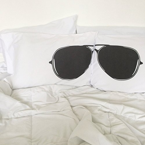 Oh, Susannah Aviator Sunglasses Pillowcases (White and Black) Pilot Bedding College Dorm Room Pillow Cases Mirrored Aviator Appearance (2 20x30