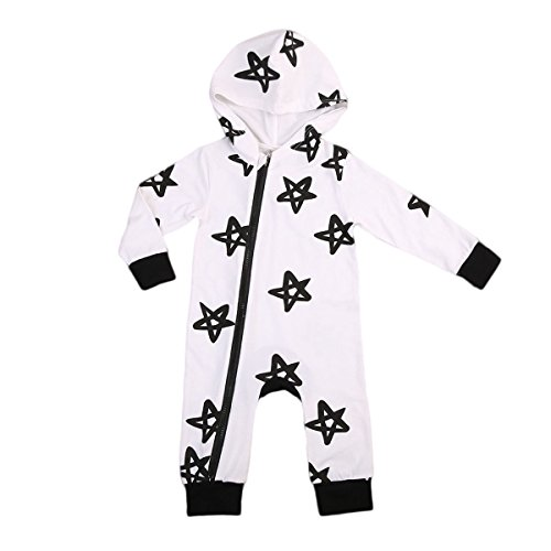 Infant Baby Boy Girls Hooded Long Sleeve Romper Zipper Star Print Bodysuit Warm Playsuit Outfit (6-12Months)