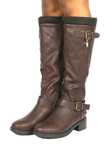 High Women's Riding Available Wide Pu Brown Calf Boots PAIRS DREAM Knee wOFp6p