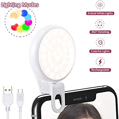 Selfie Light Ring, USAMS Rechargeable 17-Lighting Effects Portable Clip-on Mini Fill Lights with Adjustable Brightness and Colorful Light Perfect for Live Stream/Make-up/Smart Phone/Photography(White)