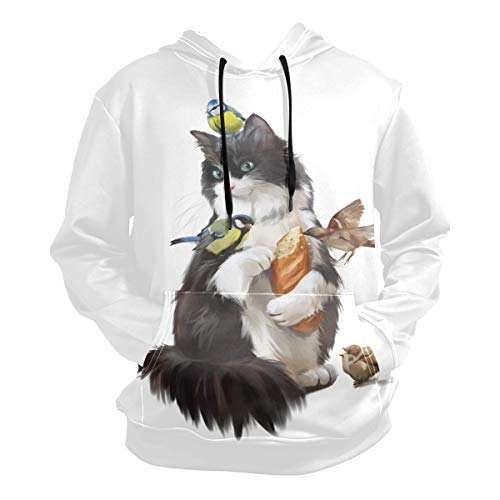 (Cat and Chickadee Pullover Sweatshirts for Women Winter Thin Casual T-Shirt Hooded Size M)