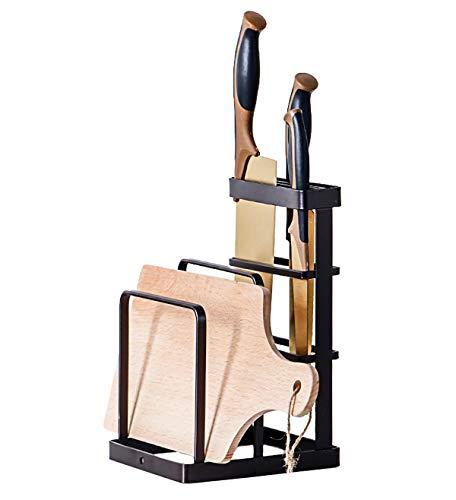 GeLive Metal Knife Block, Cutting Board Holder, Kitchen Organizer, Bakeware Drying Rack, Pan Pot Cover Lid Storage Display Stand (Black)