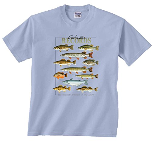 Fair Game Freshwater Records Fish Of The Northern US & Canada muskie bass walleye T-Shirt-Light Blue-Youth (Muskie Fish)