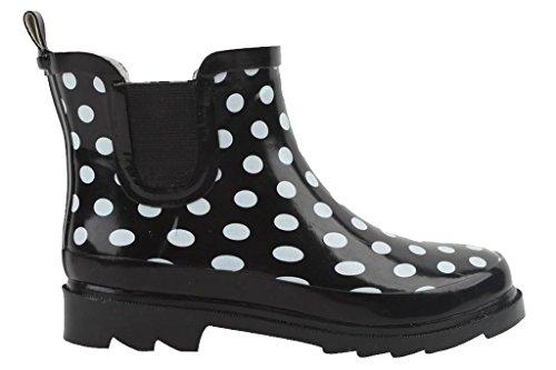 Cambridge Select Womens Waterproof Print Pattern Welly Ankle Boot Black Polka Dot ltiJj70sp3