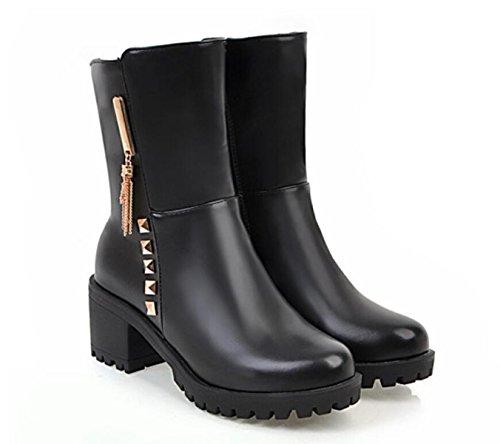 Leder Black Runden Weiden Kopf LINYI Frauen Pumpen Reißverschluss Freizeit heeled High Große Größe Mode Seitlichem qn6fPwUI6x