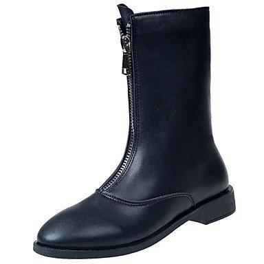 Zapatos Negro Uk4 5 RTRY Cremallera Botas Pu Ue37 For Moda Cuadra 5 Negro Invierno 7 Casual US5 Cn37 5 Mujer Botas 5 Botas Mid Calf Redonda CN35 5 Us6 Talón Puntera UK3 Confort De EU36 RqMAq4wd