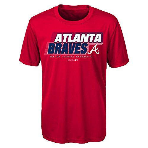 Braves Short sleeve Alternate Color performance Tee, M(10-12), Red ()