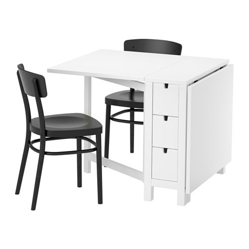 Ikea Table and 2 chairs, white, black 16204.2058.222