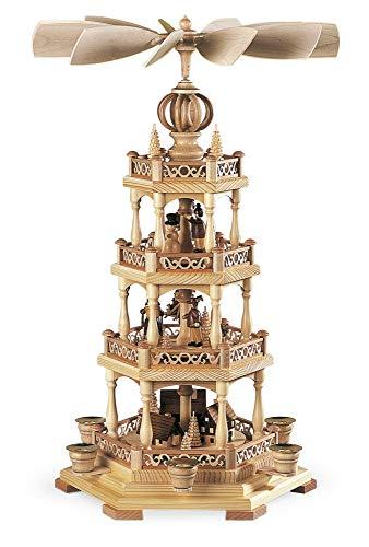M ller German christmas pyramid Erzgebirge motif, 3-tier, height 58 cm 23 inch, natural, original Erzgebirge by Mueller Seiffen