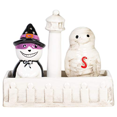 Hanna's Handiworks Troublesome Mummy Witch Pair 5.5 x 4.5 Inch Glossy Ceramic Halloween Salt and Pepper Shakers with Decorative ()
