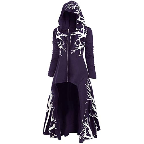 ✚Oldlover✚Cloak Hoodie Womens Hooded Plus Size Vintage Halloween High Low Sweater Tops Root Print Renaissance Costumes Purple from Oldlover-Women