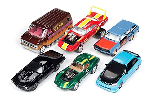 Johnny Lightning Street Freaks 2018 Release 3 Set A Diecast Car Set - Box of 6 Assorted 1/64 Scale Diecast Model - 1965 Station Wagon Ford
