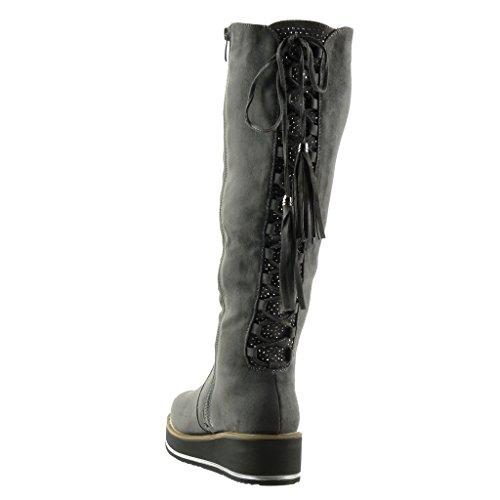 Women's Fashion Boots fringe Wedge 5 Grey CM biker laces rhinestone platform Shoes cavalier Angkorly 4 4qCxBB
