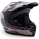Youth Kids Black Pink Skull Flame Motocross Mx ATV Off-road Helmet DOT