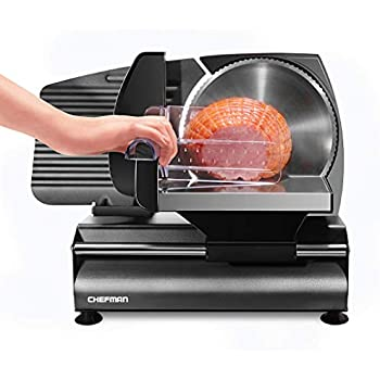 Chefman Die-Cast Electric Deli/Food Slicer Precisely Cuts Meat Cheese, Bread, Fruit & Veggies, Adjustable Thickness Dial, Removable 7.5