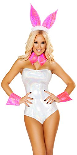 Playgirl Bunny Halloween Costumes (Sexy Playmate of the Year Romper Costume with Accessories - White/Silver - M/L)