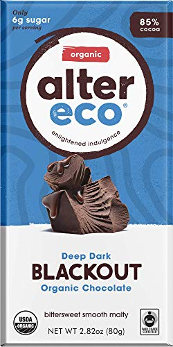 - Alter Eco | Dark Blackout | 85% Pure Dark Cocoa, Fair Trade, Organic, Non-GMO, Gluten Free Dark Chocolate Bar, Single Bar