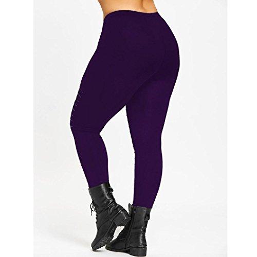 Binggong Plus Trainingshosen Sexy Damen Loch Leggings Sport Yoga Strumpfhosen Bequem 5XL Hosen Workout Frauen Freizeithosen Hosen Größe Mode Lila XL Fw15qSf