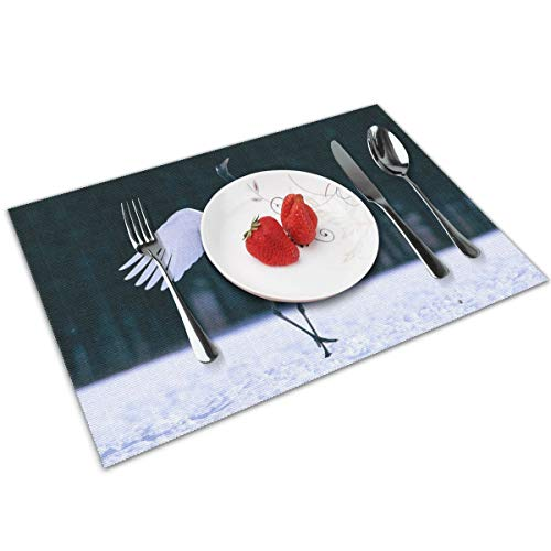 Cozystore Placemats Set of 4, Red Crowned Crane Table Mats Washable Placemats for Dining Table Wipe Clean, Non-Slip Heat Resistant Kitchen Table Mats Easy to Clean, 12