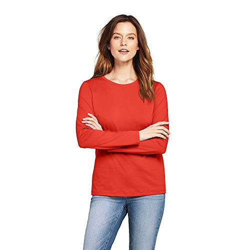 upima Cotton Long Sleeve T-Shirt - Relaxed Crewneck, S, Zesty Orange ()