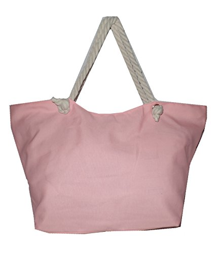 Large High Fashion Print Beach Tote Bag and Rope Handles *Can Be Personalized (Embroidered, Distressed Pink)