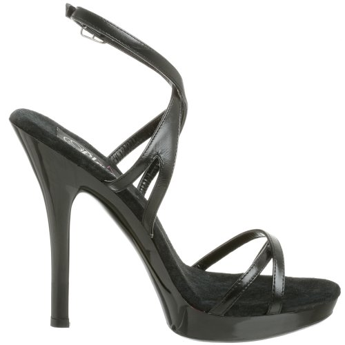 Pleaser Lip-152 - Plateau Mujer Blk Leather/Blk