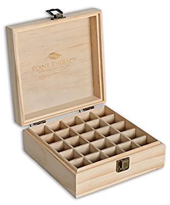 Plant Therapy Wooden Essential Oil Box - Holds 25 Bottles Size 5-15 mL