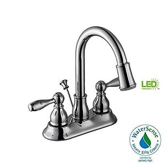 Glacier Bay 67513w 6401 Mandouri Led Bathroom Bath Sink Faucet
