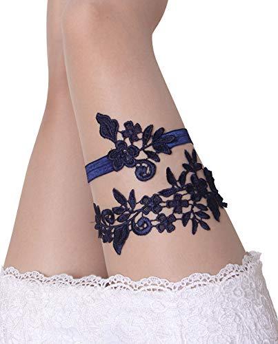 Navy Wedding Garters for Bride Bridal Lace Garter Set for Women Plus Size (Navy) (Bridal Set Garter Lace)