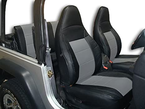 Jeep Wrangler Seat Covers >> Iggee Jeep Wrangler 1997 2002 Black Grey Artificial Leather Custom Fit Front And Rear Seat Cover