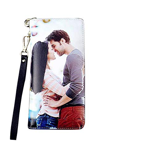 Personalized Photo Wallet Women Leather Wallet Clutch Wallet with Wristlet handbag best gift for women