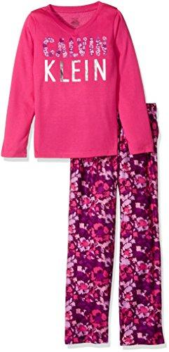 Calvin Klein Girls' Big Ck 2pc Long Sleeve Top/Sleep Pant Set, Lipstick 10/12